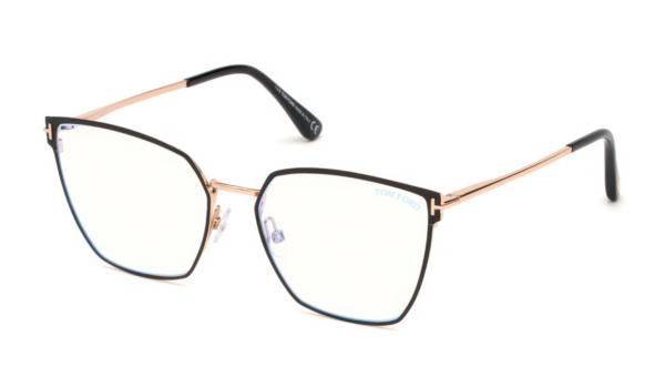 Ženska korekcijska očala Tom Ford, kovinska tekstura in oglata oblika. Optika Zajec.